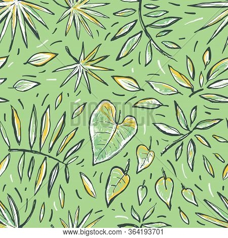 Seamless Tropical Hand Drawn Vector Sketch Pattern With Leaves. Abstract Exotic Stylized Plant On A