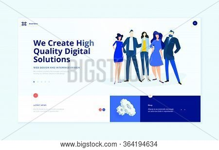 Website Template Design. Modern Vector Illustration Concept Of Web Page Design For Website And Mobil