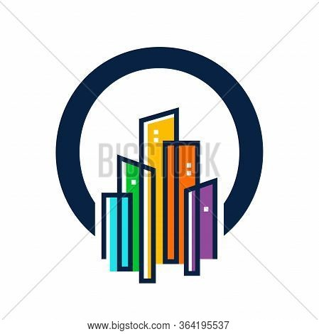 Simple, Clean And Eye Catching Logo Design Combining Initial M With Colorful Mono Line Building.