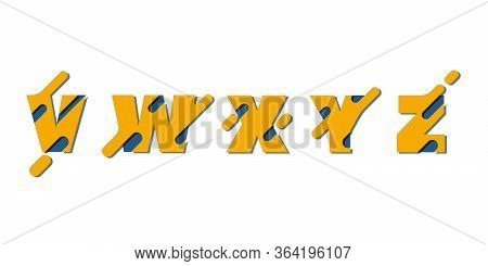 Set Of Alphabetical Letters With External Detail Elements In The Paper Cut Style. Abc Set Of Bright