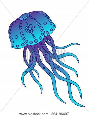 Jellyfish. Graceful Jellyfish - Vector Full Color Picture. Patterned Jellyfish In Blue And Violet Co