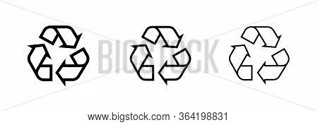 Set Icons Recycle Of Curved Arrows In The Shape Of A Triangle. Editable Line Vector.