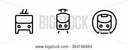 Train, Metro, Tram, Trolleybus Icons. Editable Line Vector.