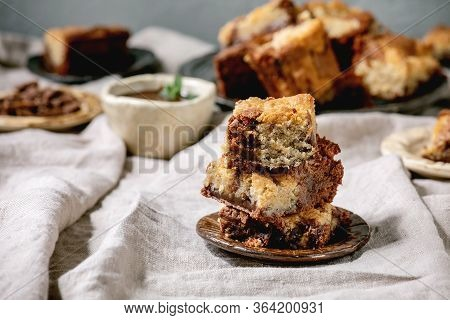 Trend Baking Brookies Chocolate Brownies And Cookies Homemade Cake Sliced By Squares In Different Ce