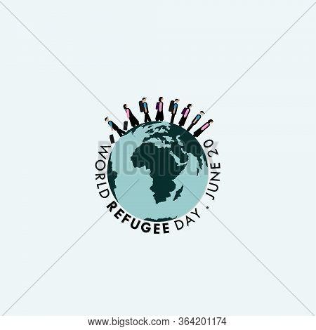 World Refugee Day. Walking People On Earth Design. Vector Illustration