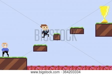 Career Growth, Concept. A Successful And Purposeful Manager Runs Across Platforms In A Platformer-st