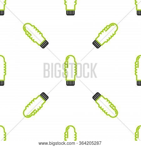 Line Dildo Vibrator For Sex Games Icon Isolated Seamless Pattern On White Background. Sex Toy For Ad