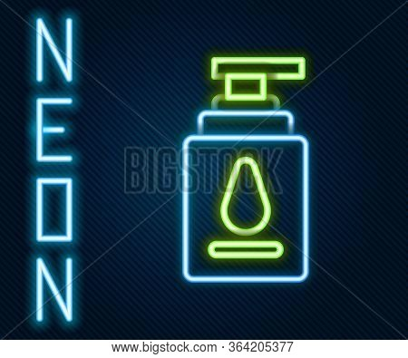 Glowing Neon Line Personal Lubricant Icon Isolated On Black Background. Lubricating Gel. Cream For E