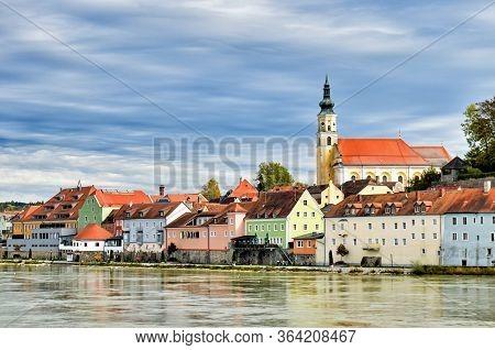 Cityscape Of The Austrian Town Schärding At The River Inn