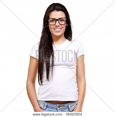 Portrait Of A Young Girl Wearing Specs Isolated On White Background poster