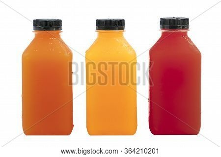 Fresh Fruit Juice In Small Clear Plastic Bottle