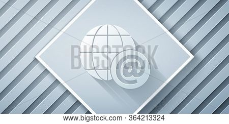 Paper Cut Earth Globe With Mail And E-mail Icon Isolated On Grey Background. Envelope Symbol E-mail.