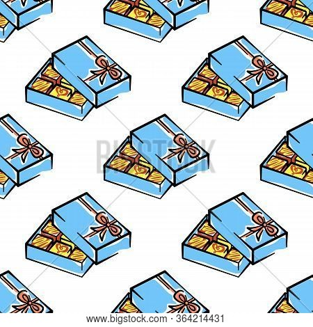 Box Of Candies Vector Seamless Pattern On White Background. Color Holiday Background Hand-drawn. Des