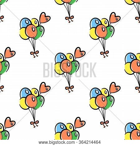 Bunch Of Balloons Vector Seamless Pattern On White Background. Color Holiday Background Hand-drawn.