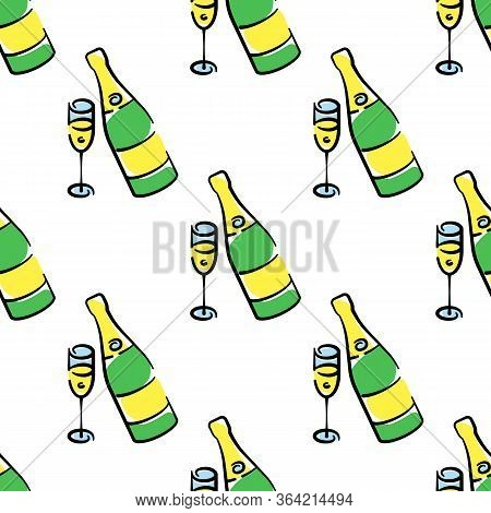 Champagne Bottles And Glasses Vector Seamless Pattern On White Background. Color Holiday Background
