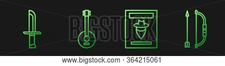 Set Line Wanted Western Poster, Military Knife, Banjo And Bow And Arrow In Quiver. Gradient Color Ic