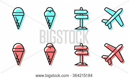 Set Line Road Traffic Signpost, Ice Cream In Waffle Cone, Ice Cream In Waffle Cone And Plane Icon. V