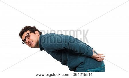 Bent Down Businessman Carrying An Heavy Invisible Object On His Back Isolated On White Background. O