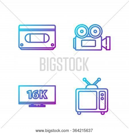 Set Line Retro Tv, Screen Tv With 16k, Vhs Video Cassette Tape And Cinema Camera. Gradient Color Ico