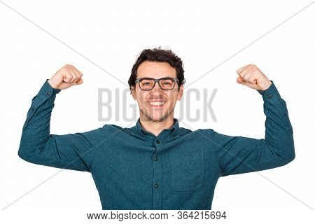 Confident Businessman Flexing Muscles Imagine Superpower. Nerd Guy Wears Eyeglasses Shows His Streng