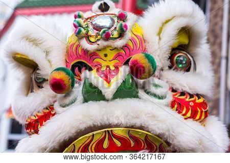 Traditional Dragon Dance During Lunar New Year Celebration In Chinatown In Kobe, Hyogo Prefecture, J