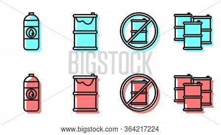 Set Line No Barrel For Gasoline, Canister For Motor Machine Oil, Barrel Oil Leak And Barrel Oil Icon