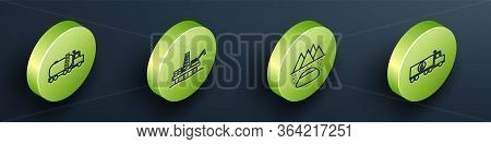 Set Isometric Tanker Truck, Oil Platform In The Sea, Oilfield And Tanker Truck Icon. Vector