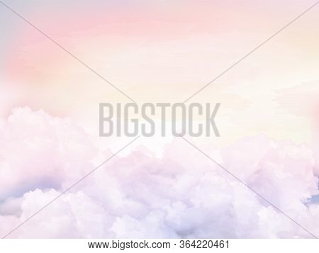 Sugar Cotton Pink Clouds Vector Design Background. Glamour Fairytale Backdrop. Plane Sky View With S