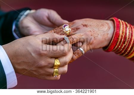 Close-up Of Hindu Wedding Ring Ceremony.wedding Rings.details Of Nepali Indian Wedding Rings Ceremon