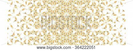 Morocco Color Wallpaper With Geometric Flowers. Arabesque Vector Wallpapers. Geometric Rich Border P
