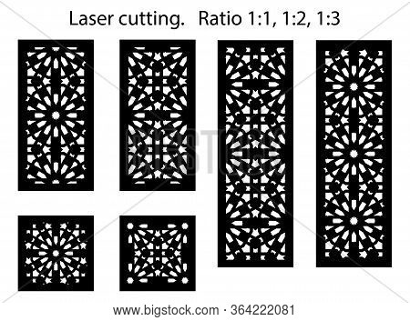 Set Of Decorative Vector Panels For Laser Cutting. Lazer Templates For Interior Partition In Arabic