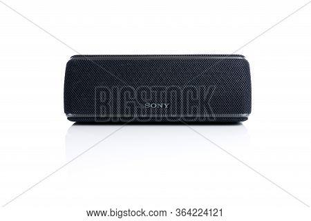 Chernivtsi, Ukraine - April 04, 2020: Black Bluetooth Column Sony. Black Bluetooth Sony Column Isola