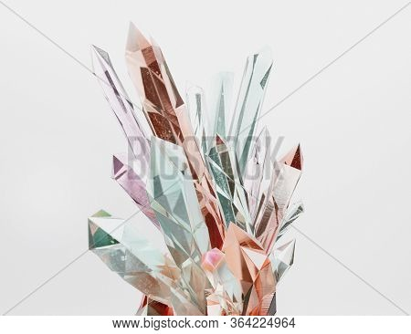 Pastel Crystal Cluster  Isolated On White Background. Colorful Crystals Nugget Sparkling In  Transpa