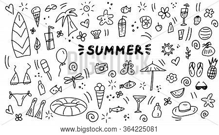 Summer Doodles Icon Set. Hand Drawn Lines Cartoon Icons Collection. Vector Illustration