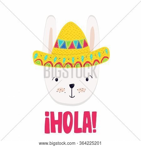 Adorable Bunny In Colorful Sombrero, Vector  Illustration In Mexican Style For Cards, Prints, Poster