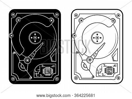 Hard Disk. Harddisk In Glyph And Outline Style. Hdd Disks In Black Color In Flat Style For Web, Isol