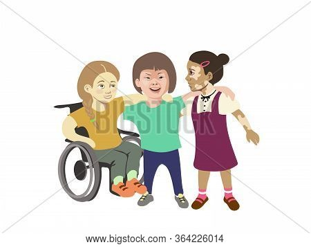 Three Girls With Special Needs Hugs And Smiling Together , Disable Girl On A Wheelchair, One With Do