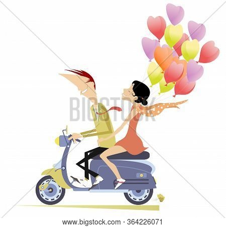 Happy Man And Woman Rides On The Scooter Illustration. Happy Man And Woman In The Red Dress With A L