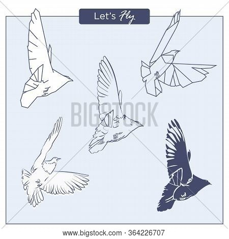 Set Of Hand-drawn Flying Pigeons In Different Styles, As Free Hand Sketch, Poligonal Geometric And S