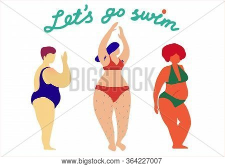 Happy Plus Size Girls Wearing Swimming Suits And Bikini And Calling You To Go Swimming. Body Positiv