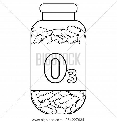 Fish Oil. Outline Bottle With Fish Oil Capsules. Omega 3 Vitamin Capsules. Bottle With Omega 3 Table