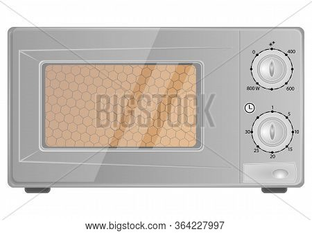 Realistic Microwave Oven In Grey Color. Household Appliance To Heat And Defrost Food, For Cooking, W