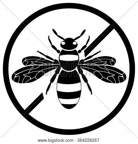Non Insect Wasp Sign. Black Wasp Silhouette. A Stinging Insect. Flat Design. Vector