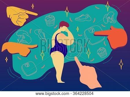 Fat Shaming Concept Vector Illustration. Sad Plus Size Woman In Swimwear Had A Mockery Of Society ,