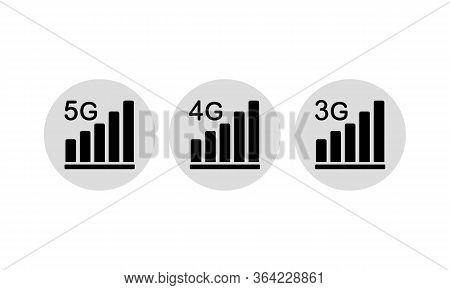 5g, 4g, 3g Icon Set Or New Mobile Communication Technology And Smartphone Network Symbol On Isolated