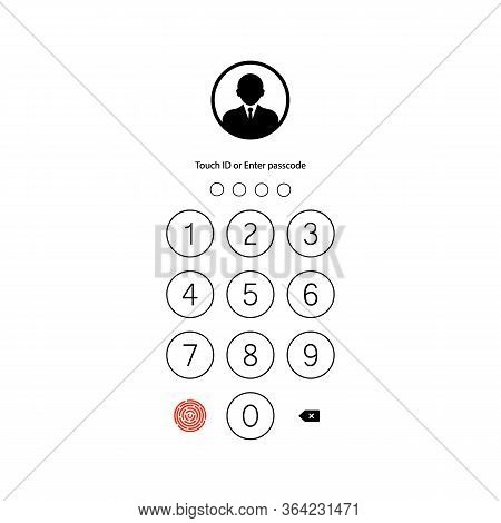 Touch Id Or Enter Passcode, Password, Interface. Pass Code Smartphone Back Icon On Isolated White Ba