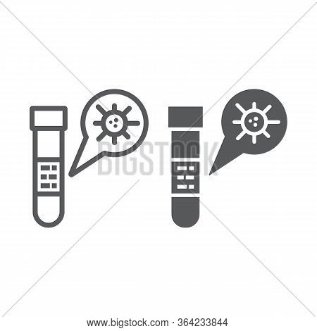 Test Tube Line And Glyph Icon, Blood And Coronavirus, Test Tube With Covid-19 Sign, Vector Graphics,