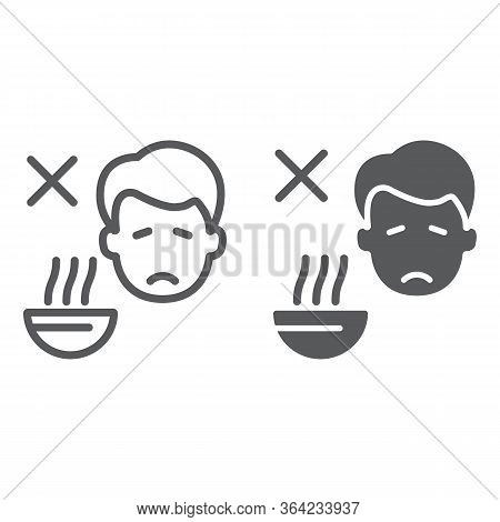 Loss Of Appetite Line And Glyph Icon, Diet And Covid-19, Coronavirus Symptom Sign, Vector Graphics,
