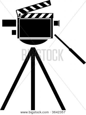 Movie Camera With Clapboard.