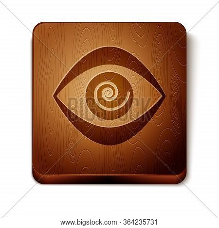 Brown Hypnosis Icon Isolated On White Background. Human Eye With Spiral Hypnotic Iris. Wooden Square